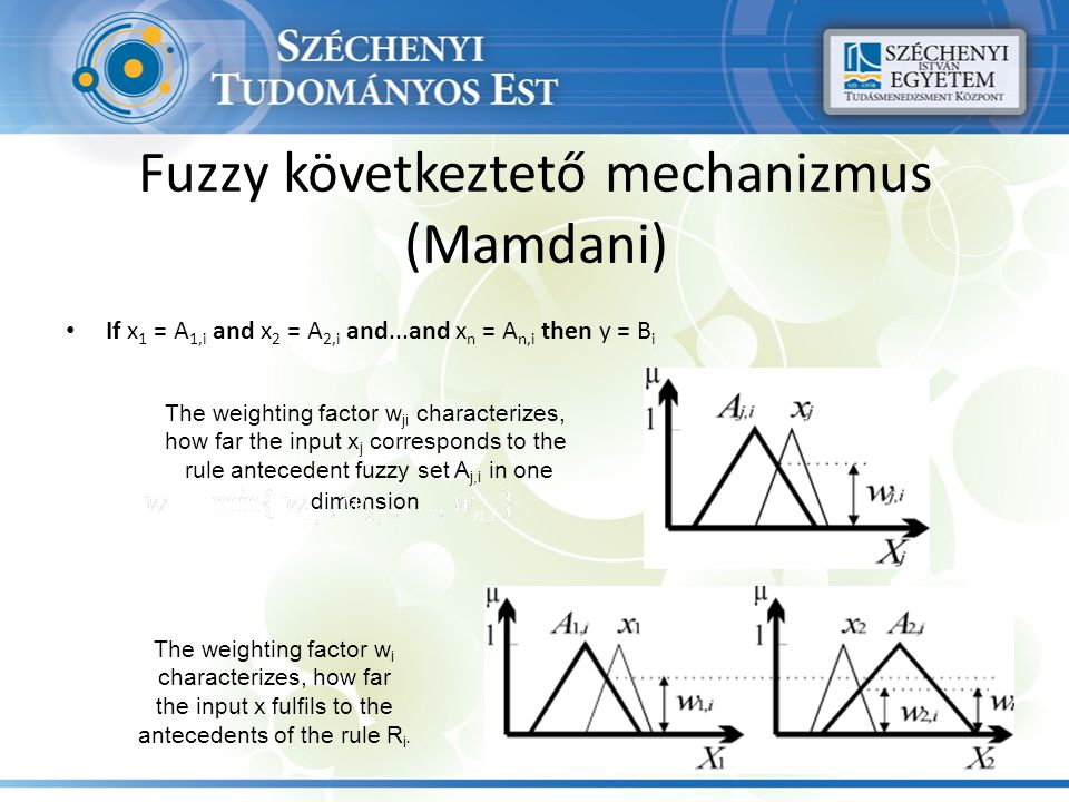 Fuzzy következtető mechanizmus (Mamdani) If x 1 = A 1,i and x 2 = A 2,i and...and x n = A n,i then y = B i The weighting factor w ji characterizes, ho
