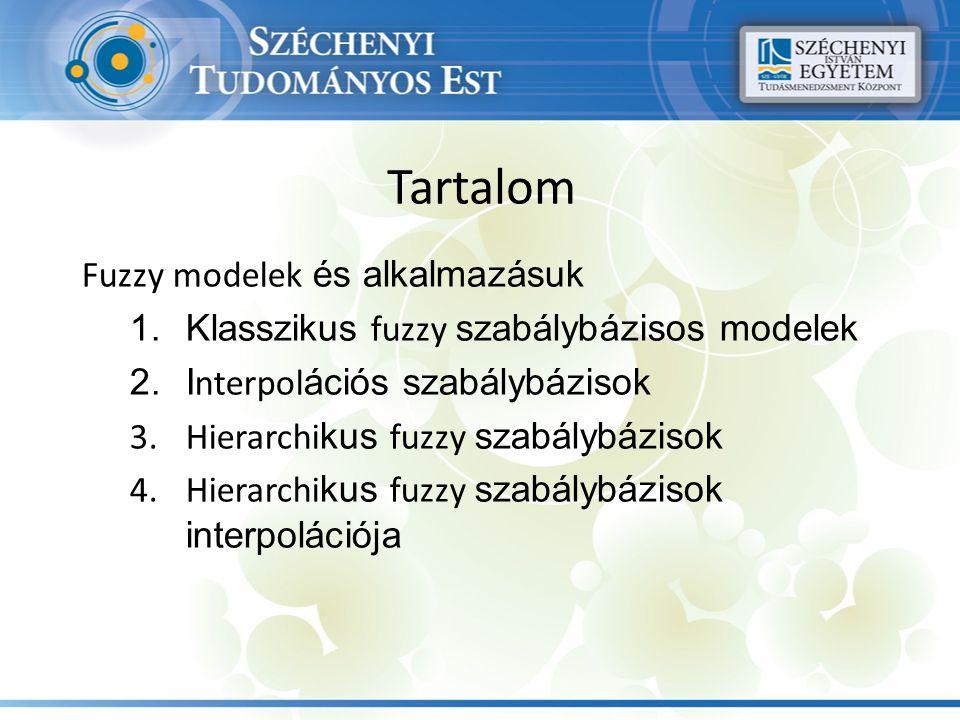 Tartalom Fuzzy modelek és alkalmazásuk 1.Klasszikus fuzzy szabálybázisos modelek 2.I nterpol ációs szabálybázisok 3.Hierarchi kus fuzzy szabálybázisok 4.Hierarchi kus fuzzy szabálybázisok interpolációja