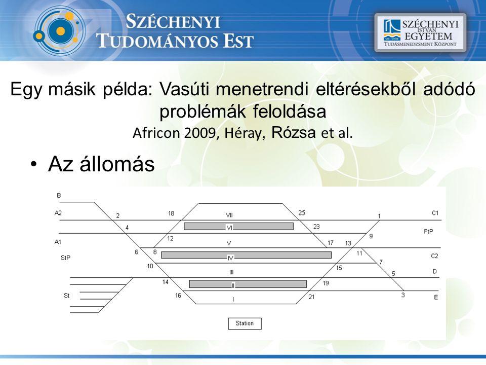 Egy másik példa: Vasúti menetrendi eltérésekből adódó problémák feloldása Africon 2009, Héray, Rózsa et al.