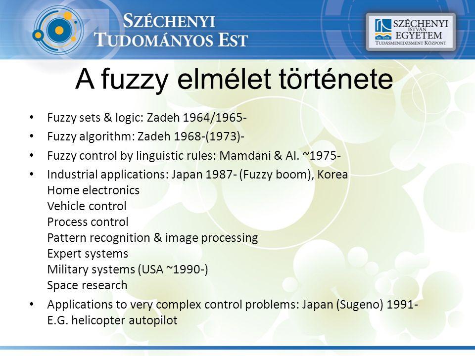 A fuzzy elmélet története Fuzzy sets & logic: Zadeh 1964/1965- Fuzzy algorithm: Zadeh 1968-(1973)- Fuzzy control by linguistic rules: Mamdani & Al.