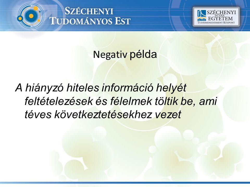Negativ példa A hiányzó hiteles információ helyét feltételezések és félelmek töltik be, ami téves következtetésekhez vezet