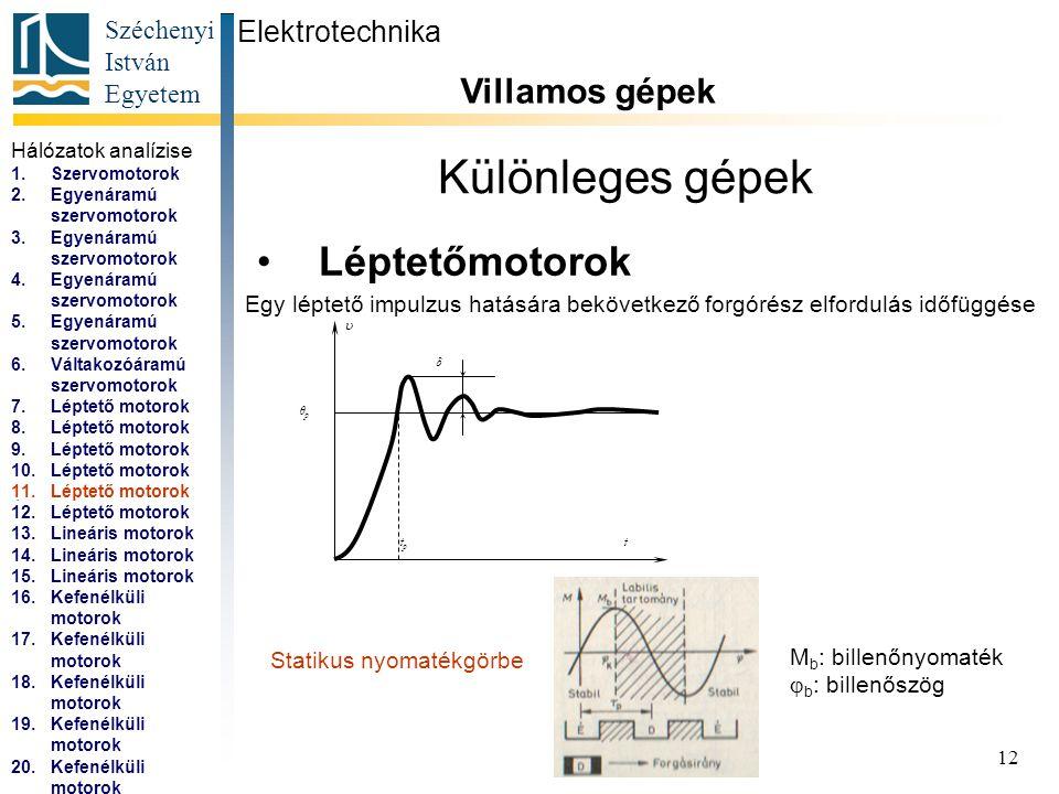 Széchenyi István Egyetem 13 Különleges gépek Léptetőmotorok Elektrotechnika Villamos gépek...