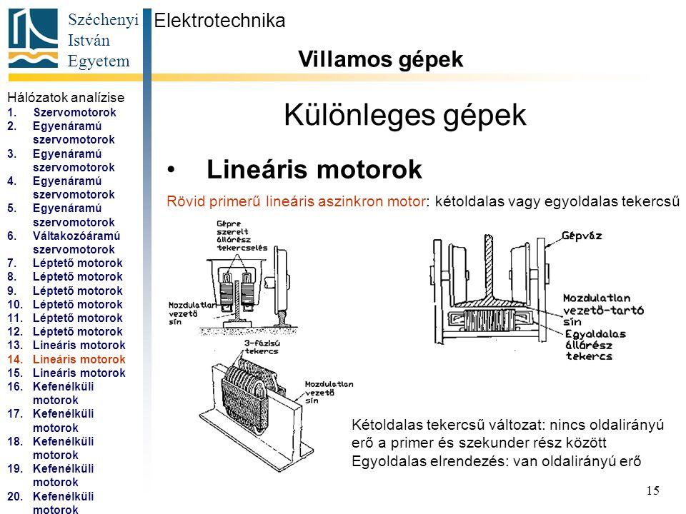 Széchenyi István Egyetem 16 Különleges gépek Lineáris motorok Elektrotechnika Villamos gépek...