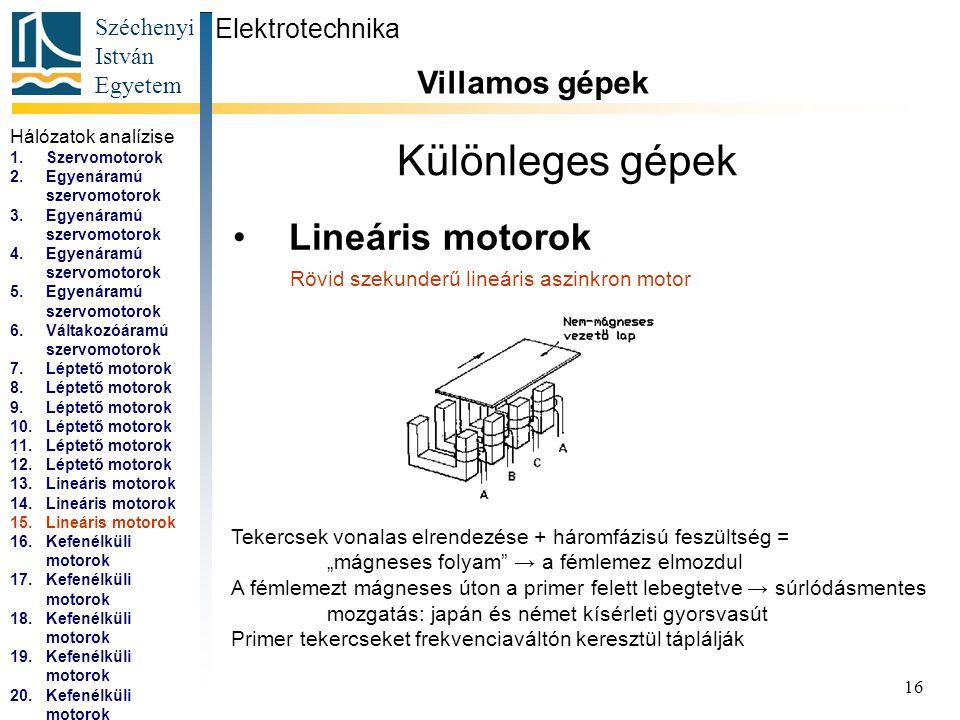 Széchenyi István Egyetem 17 Különleges gépek Kefenélküli motorok (EC motorok) Elektrotechnika Villamos gépek...