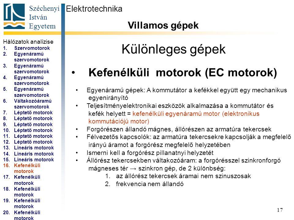 Széchenyi István Egyetem 18 Különleges gépek Kefenélküli motorok (EC motorok) Elektrotechnika Villamos gépek...
