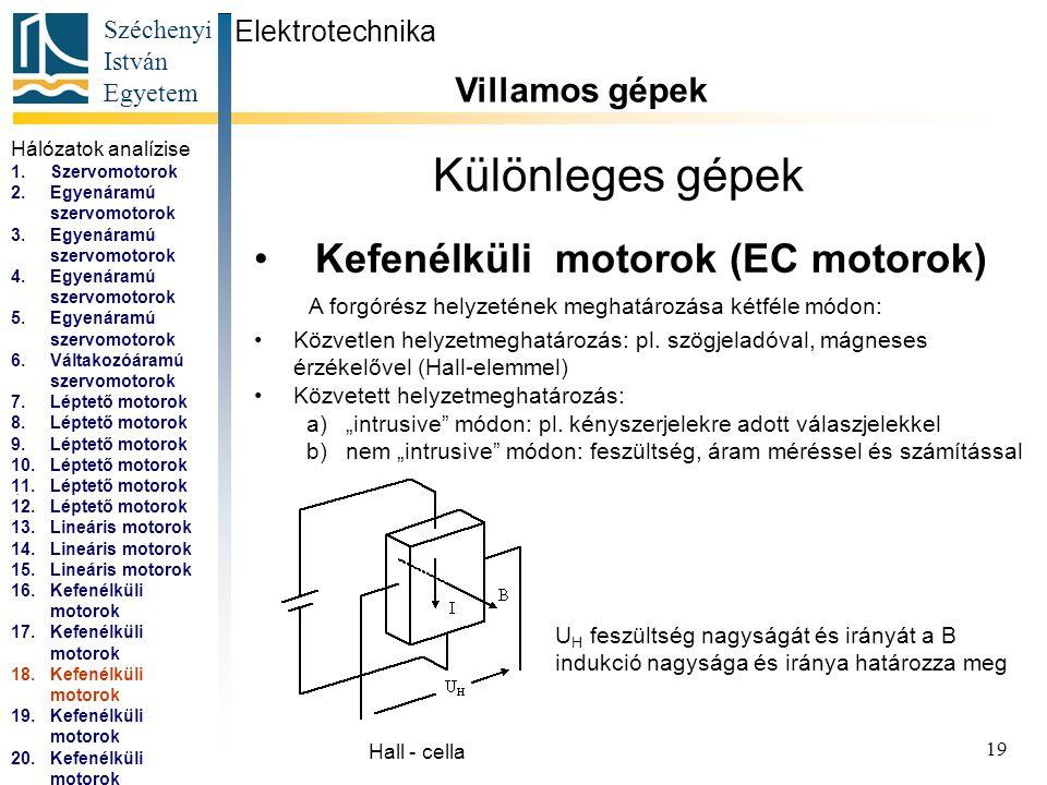 Széchenyi István Egyetem 20 Különleges gépek Kefenélküli motorok (EC motorok) Elektrotechnika Villamos gépek...