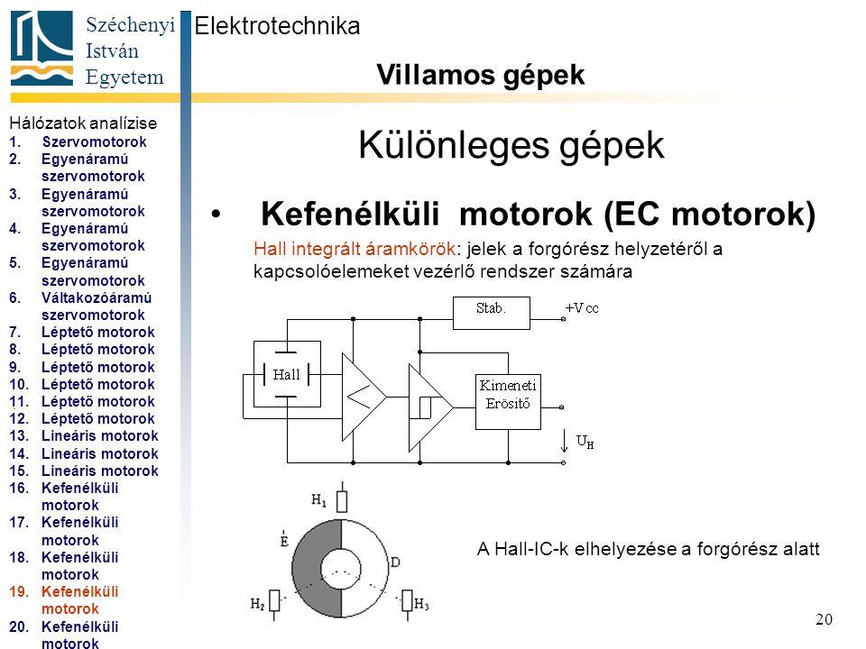 Széchenyi István Egyetem 21 Különleges gépek Kefenélküli motorok (EC motorok) Elektrotechnika Villamos gépek...