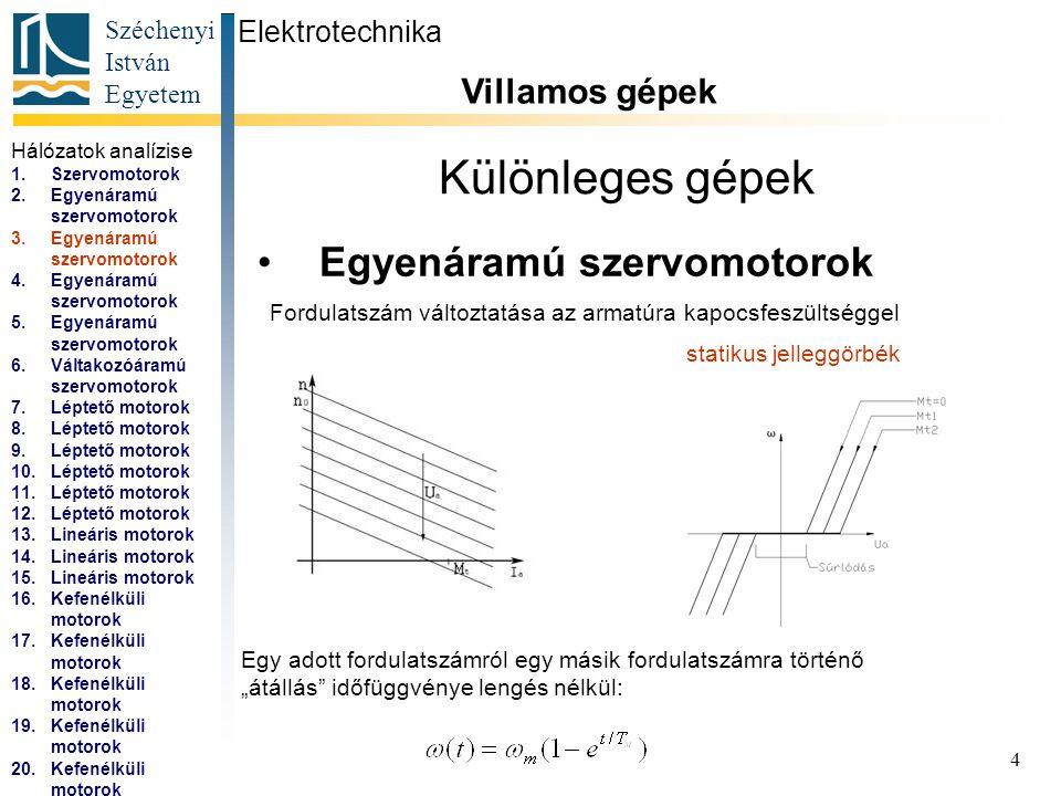 Széchenyi István Egyetem 5 Különleges gépek Egyenáramú szervomotorok Elektrotechnika Villamos gépek...