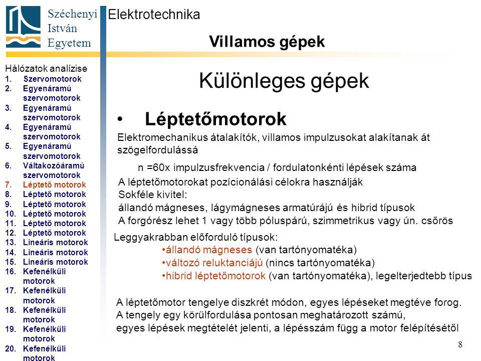 Széchenyi István Egyetem 9 Különleges gépek Léptetőmotorok Elektrotechnika Villamos gépek...