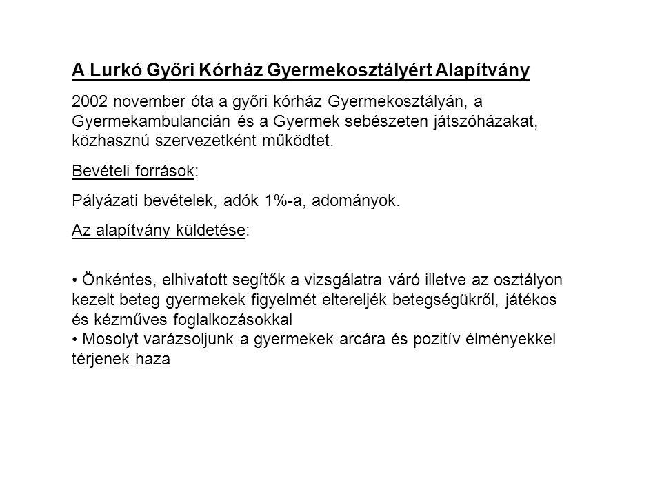 A Lurkó Győri Kórház Gyermekosztályért Alapítvány 2002 november óta a győri kórház Gyermekosztályán, a Gyermekambulancián és a Gyermek sebészeten játszóházakat, közhasznú szervezetként működtet.