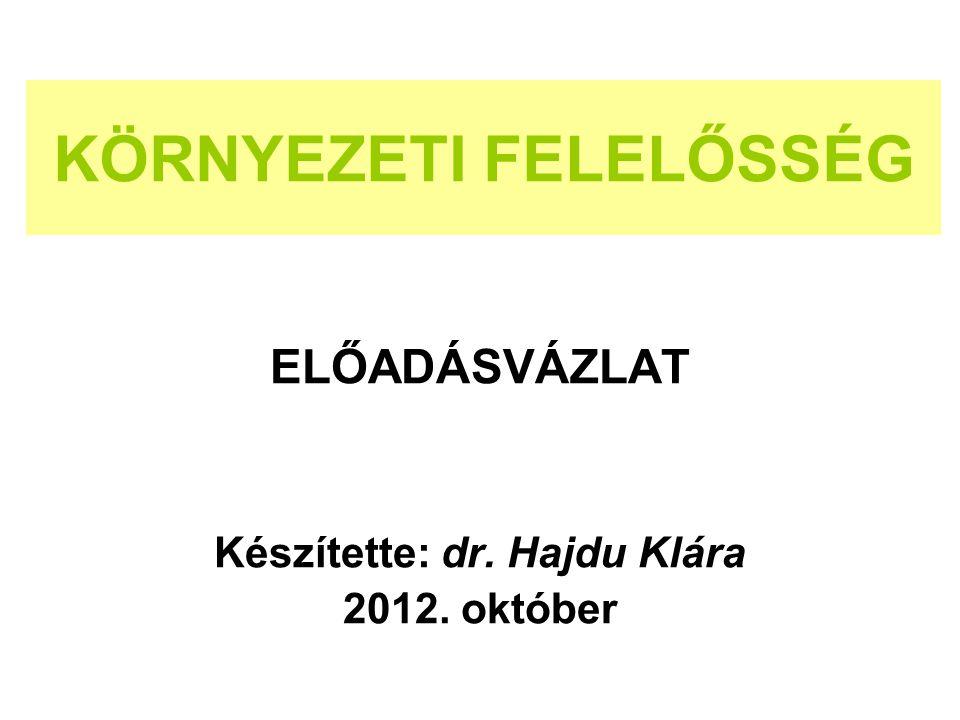 KÖRNYEZETI FELELŐSSÉG ELŐADÁSVÁZLAT Készítette: dr. Hajdu Klára 2012. október
