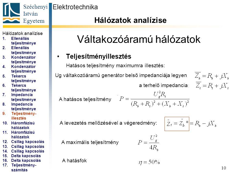 Széchenyi István Egyetem 10 Váltakozóáramú hálózatok Teljesítményillesztés Elektrotechnika Hálózatok analízise... Hatásos teljesítmény maximumra illes