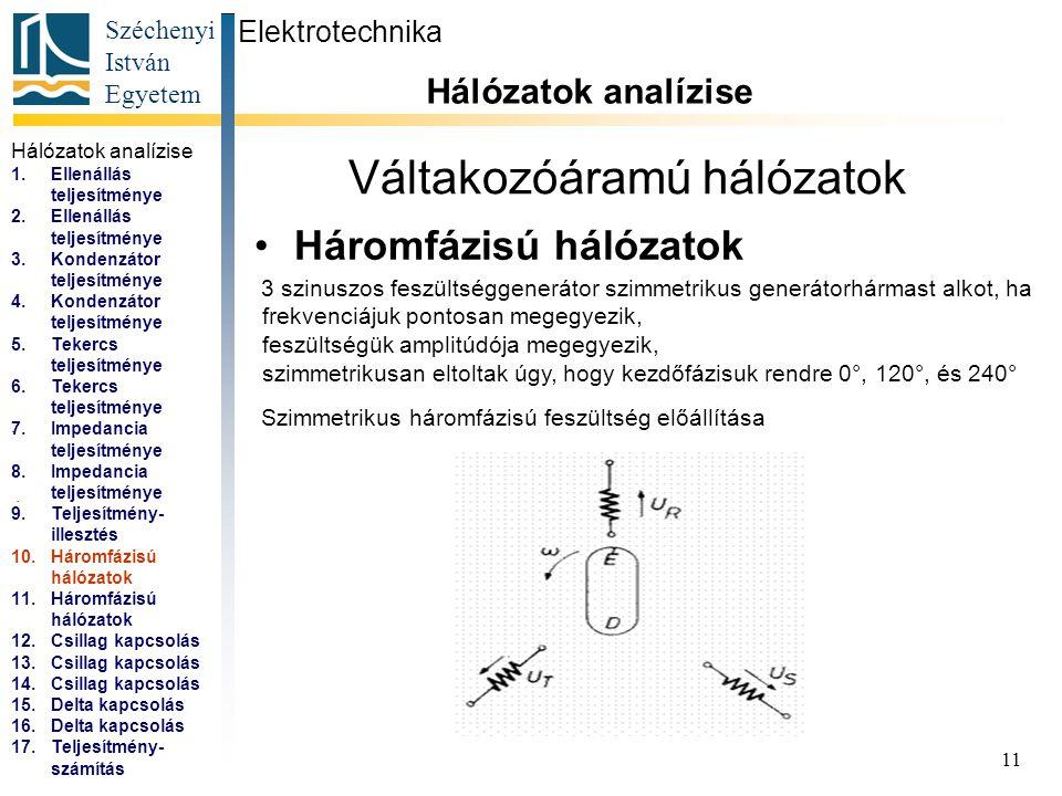 Széchenyi István Egyetem 11 Váltakozóáramú hálózatok Háromfázisú hálózatok Elektrotechnika Hálózatok analízise... 3 szinuszos feszültséggenerátor szim