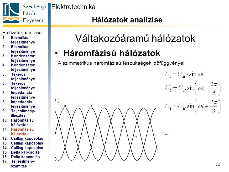 Széchenyi István Egyetem 12 Váltakozóáramú hálózatok Háromfázisú hálózatok Elektrotechnika Hálózatok analízise... A szimmetrikus háromfázisú feszültsé