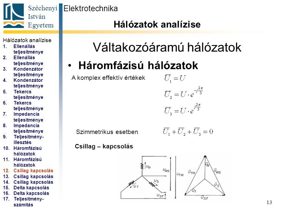 Széchenyi István Egyetem 13 Váltakozóáramú hálózatok Háromfázisú hálózatok Elektrotechnika Hálózatok analízise... A komplex effektív értékek Szimmetri