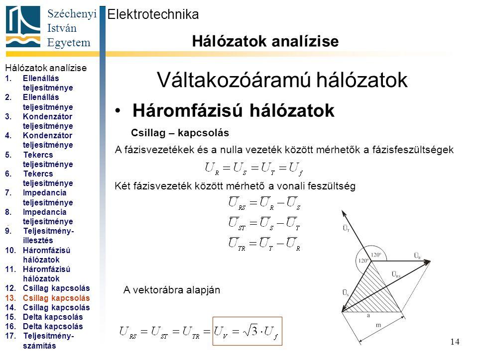 Széchenyi István Egyetem 14 Váltakozóáramú hálózatok Háromfázisú hálózatok Elektrotechnika Hálózatok analízise... Csillag – kapcsolás A fázisvezetékek