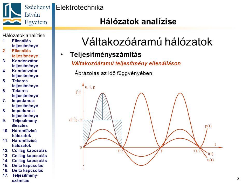 Széchenyi István Egyetem 3 Váltakozóáramú hálózatok Teljesítményszámítás Elektrotechnika Hálózatok analízise... Váltakozóáramú teljesítmény ellenállás