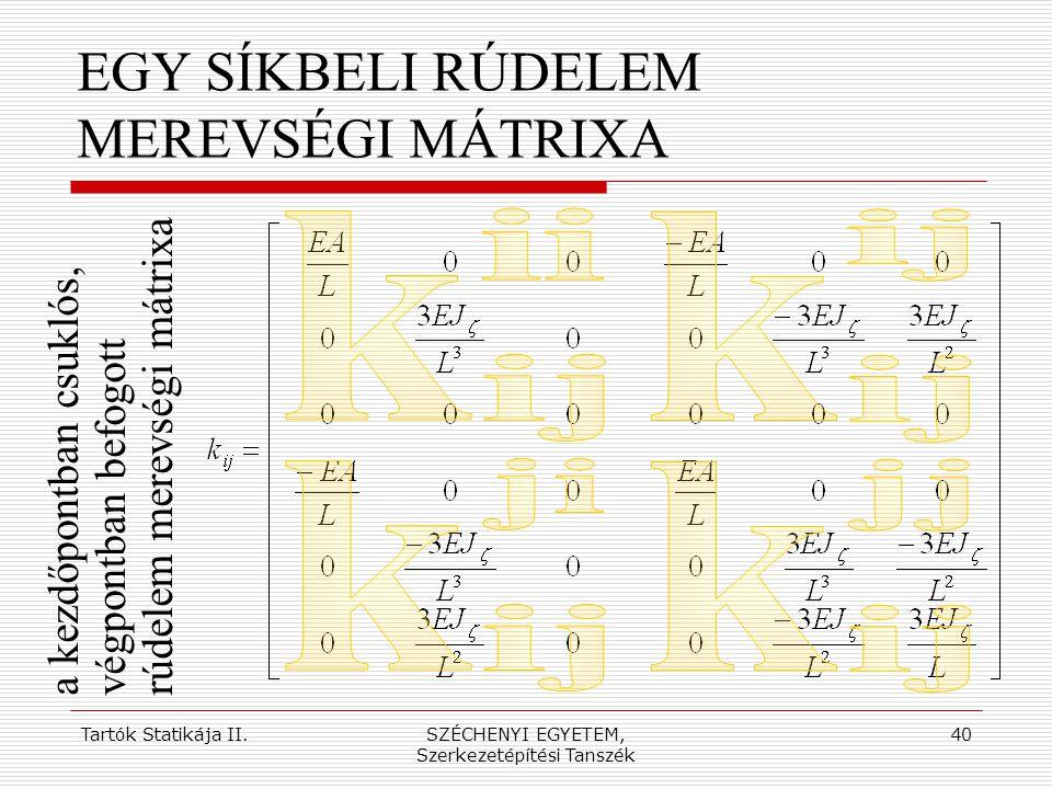 Tartók Statikája II.SZÉCHENYI EGYETEM, Szerkezetépítési Tanszék 40 EGY SÍKBELI RÚDELEM MEREVSÉGI MÁTRIXA a kezdőpontban csuklós,végpontban befogottrúd