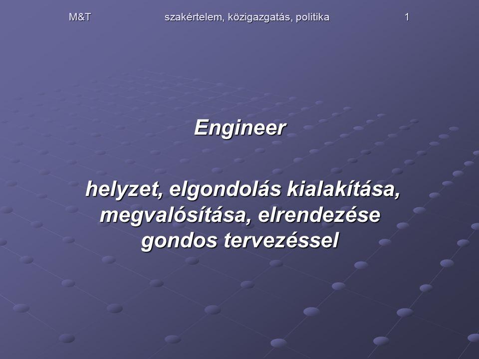 M&T szakértelem, közigazgatás, politika1 Engineer helyzet, elgondolás kialakítása, megvalósítása, elrendezése gondos tervezéssel helyzet, elgondolás kialakítása, megvalósítása, elrendezése gondos tervezéssel