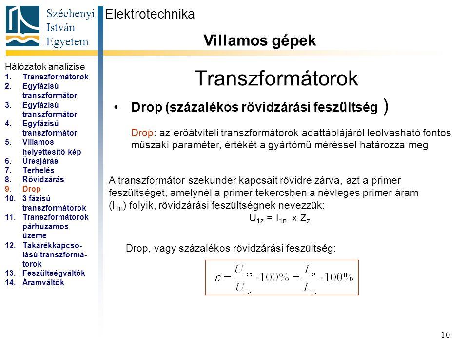Széchenyi István Egyetem 10 Transzformátorok Drop (százalékos rövidzárási feszültség ) Elektrotechnika Villamos gépek...