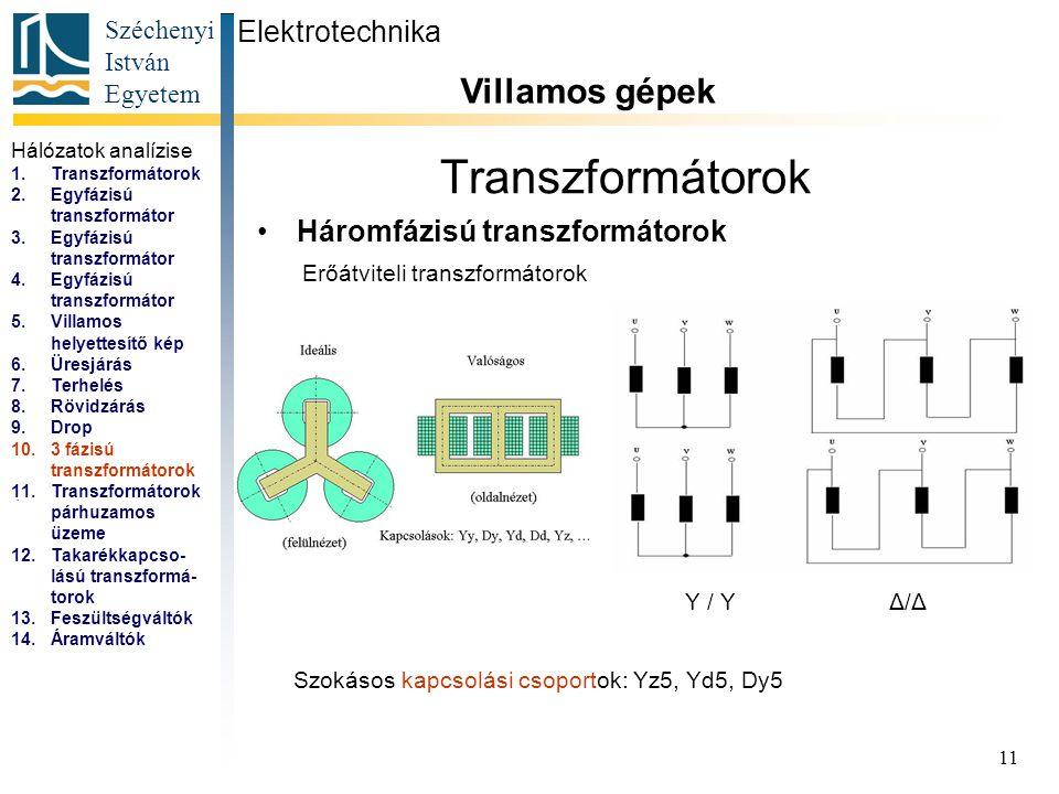 Széchenyi István Egyetem 11 Transzformátorok Háromfázisú transzformátorok Elektrotechnika Villamos gépek...