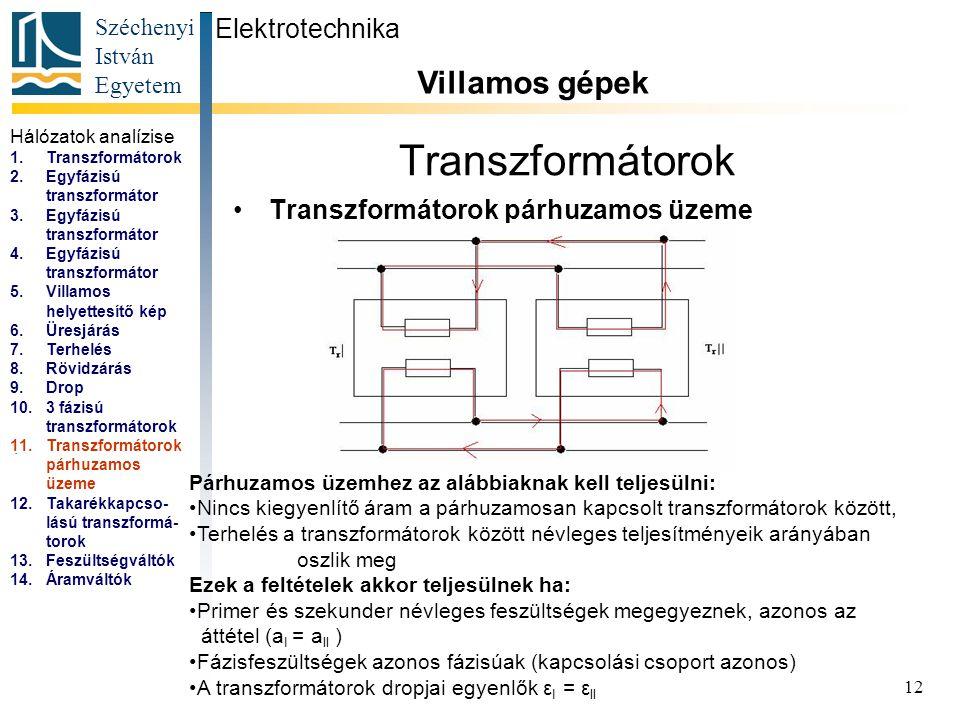 Széchenyi István Egyetem 12 Transzformátorok Transzformátorok párhuzamos üzeme Elektrotechnika Villamos gépek...
