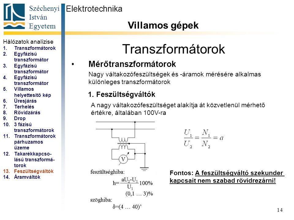 Széchenyi István Egyetem 14 Transzformátorok Mérőtranszformátorok Elektrotechnika Villamos gépek...