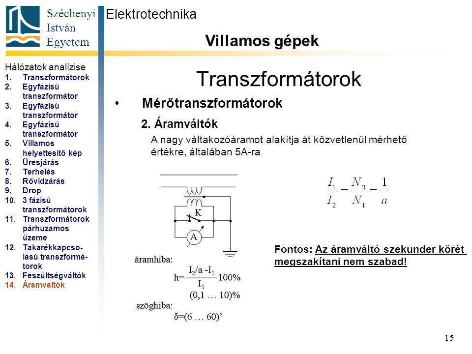 Széchenyi István Egyetem 15 Transzformátorok Mérőtranszformátorok Elektrotechnika Villamos gépek...