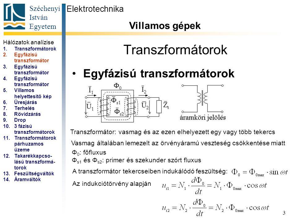 Széchenyi István Egyetem 3 Transzformátorok Egyfázisú transzformátorok Elektrotechnika Villamos gépek...
