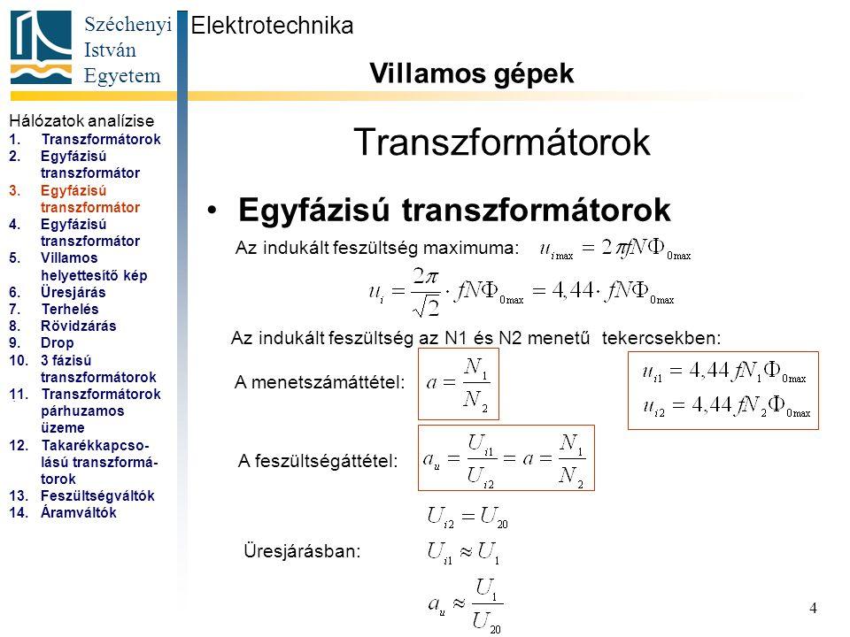Széchenyi István Egyetem 4 Transzformátorok Egyfázisú transzformátorok Elektrotechnika Villamos gépek...