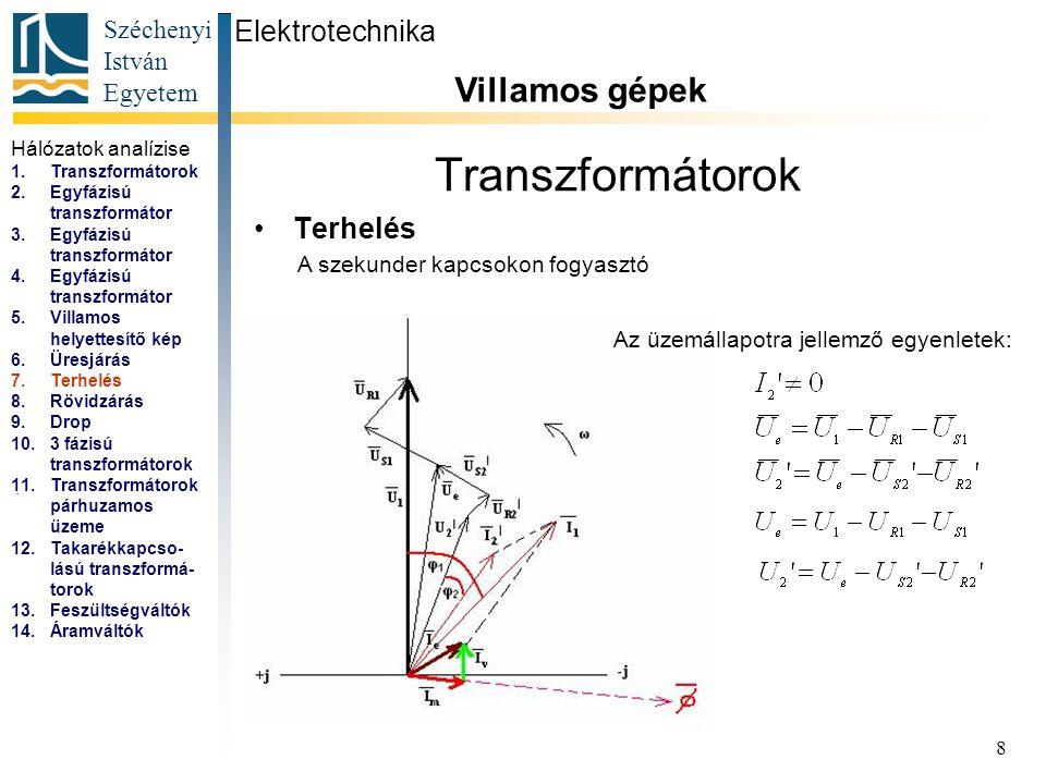 Széchenyi István Egyetem 8 Transzformátorok Terhelés Elektrotechnika Villamos gépek...