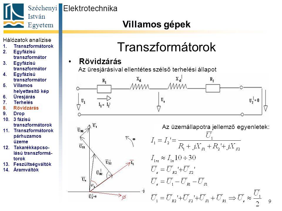 Széchenyi István Egyetem 9 Transzformátorok Rövidzárás Elektrotechnika Villamos gépek...