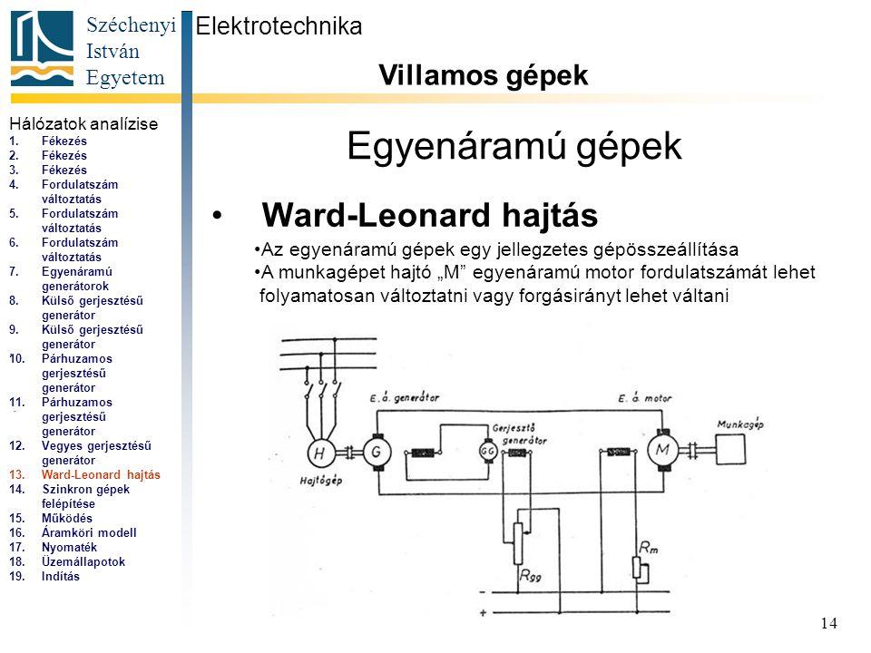 Széchenyi István Egyetem 14 Egyenáramú gépek Ward-Leonard hajtás Elektrotechnika Villamos gépek... Az egyenáramú gépek egy jellegzetes gépösszeállítás