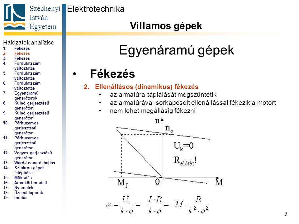 Széchenyi István Egyetem 3 Egyenáramú gépek Fékezés Elektrotechnika Villamos gépek... 2.Ellenállásos (dinamikus) fékezés az armatúra táplálását megszű
