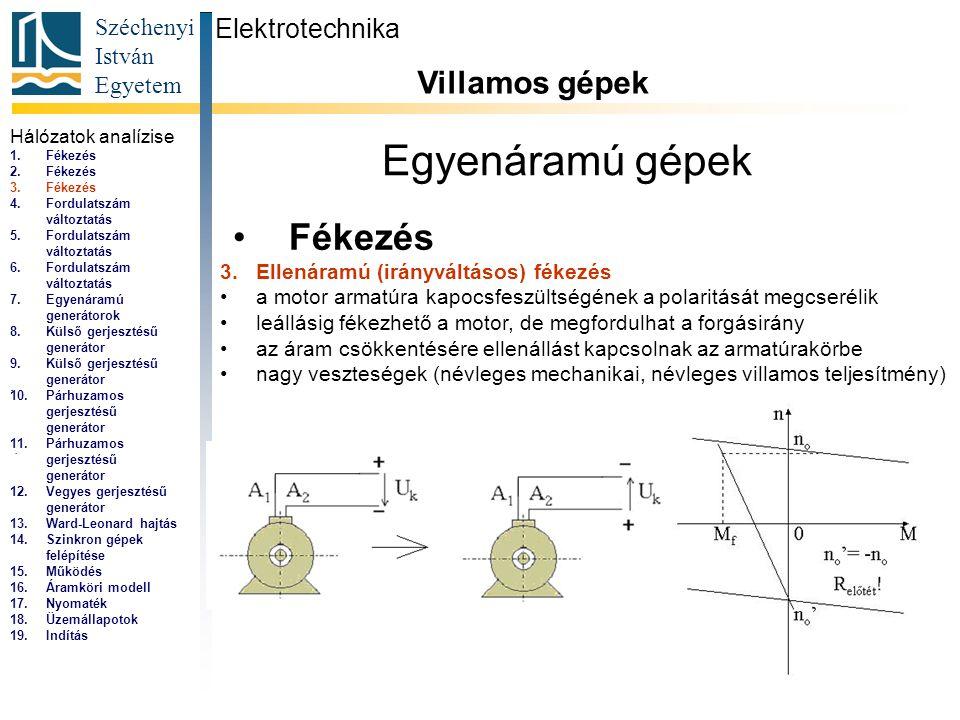 Széchenyi István Egyetem 4 Egyenáramú gépek Fékezés Elektrotechnika Villamos gépek... 3.Ellenáramú (irányváltásos) fékezés a motor armatúra kapocsfesz