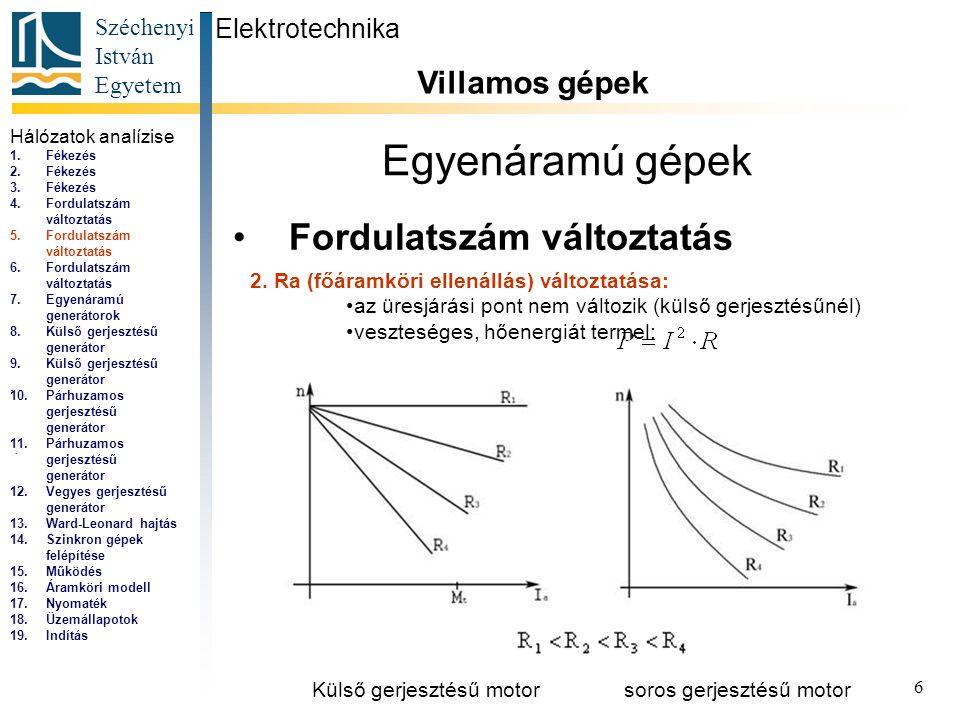 Széchenyi István Egyetem 6 Egyenáramú gépek Fordulatszám változtatás Elektrotechnika Villamos gépek... 2. Ra (főáramköri ellenállás) változtatása: az
