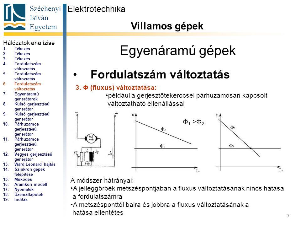 Széchenyi István Egyetem 7 Egyenáramú gépek Fordulatszám változtatás Elektrotechnika Villamos gépek... 3. Φ (fluxus) változtatása: például a gerjesztő