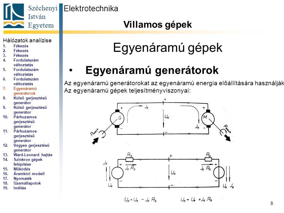 Széchenyi István Egyetem 8 Egyenáramú gépek Egyenáramú generátorok Elektrotechnika Villamos gépek... Az egyenáramú generátorokat az egyenáramú energia