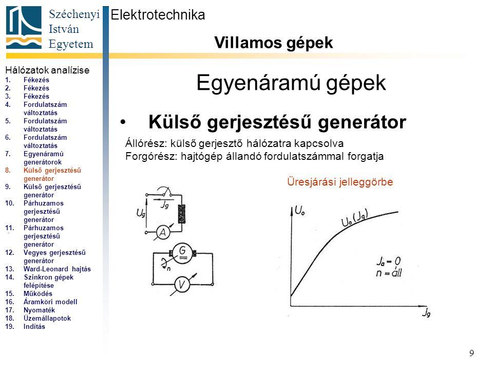 Széchenyi István Egyetem 10 Egyenáramú gépek Külső gerjesztésű generátor Elektrotechnika Villamos gépek...
