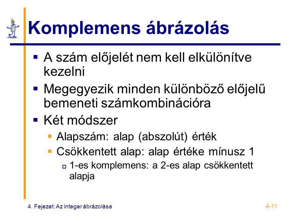 4. Fejezet: Az integer ábrázolása 4-11 Komplemens ábrázolás  A szám előjelét nem kell elkülönítve kezelni  Megegyezik minden különböző előjelű bemen