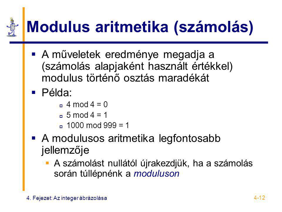 4. Fejezet: Az integer ábrázolása 4-12 Modulus aritmetika (számolás)  A műveletek eredménye megadja a (számolás alapjaként használt értékkel) modulus