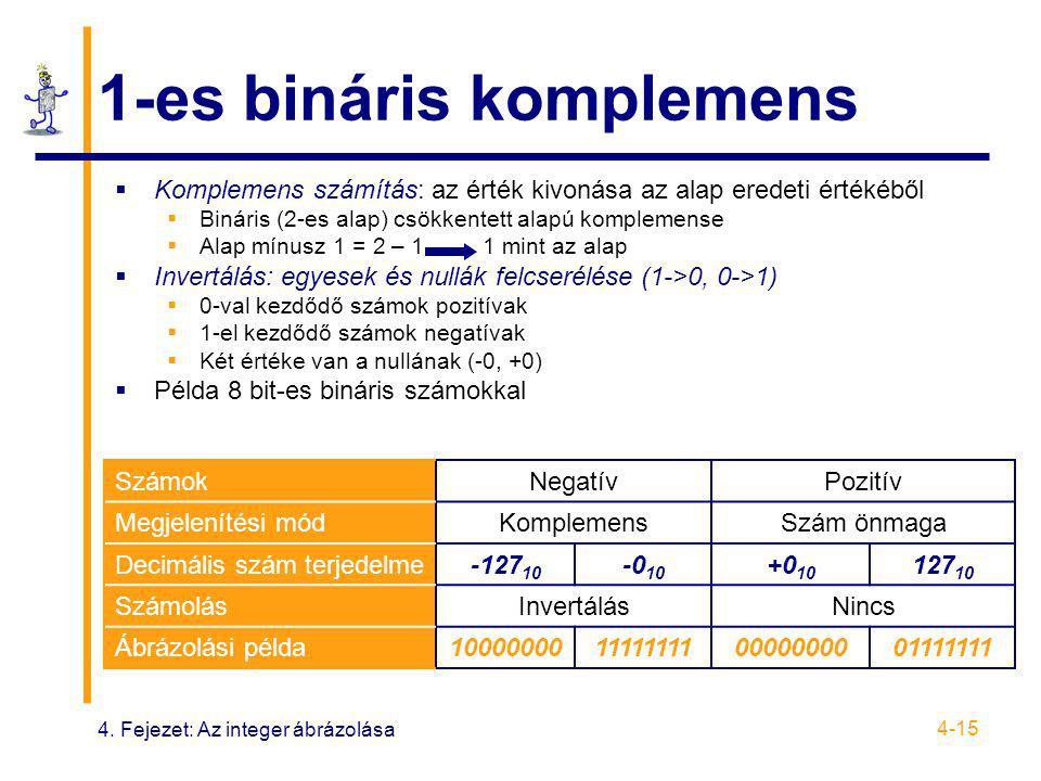 4. Fejezet: Az integer ábrázolása 4-15 1-es bináris komplemens  Komplemens számítás: az érték kivonása az alap eredeti értékéből  Bináris (2-es alap