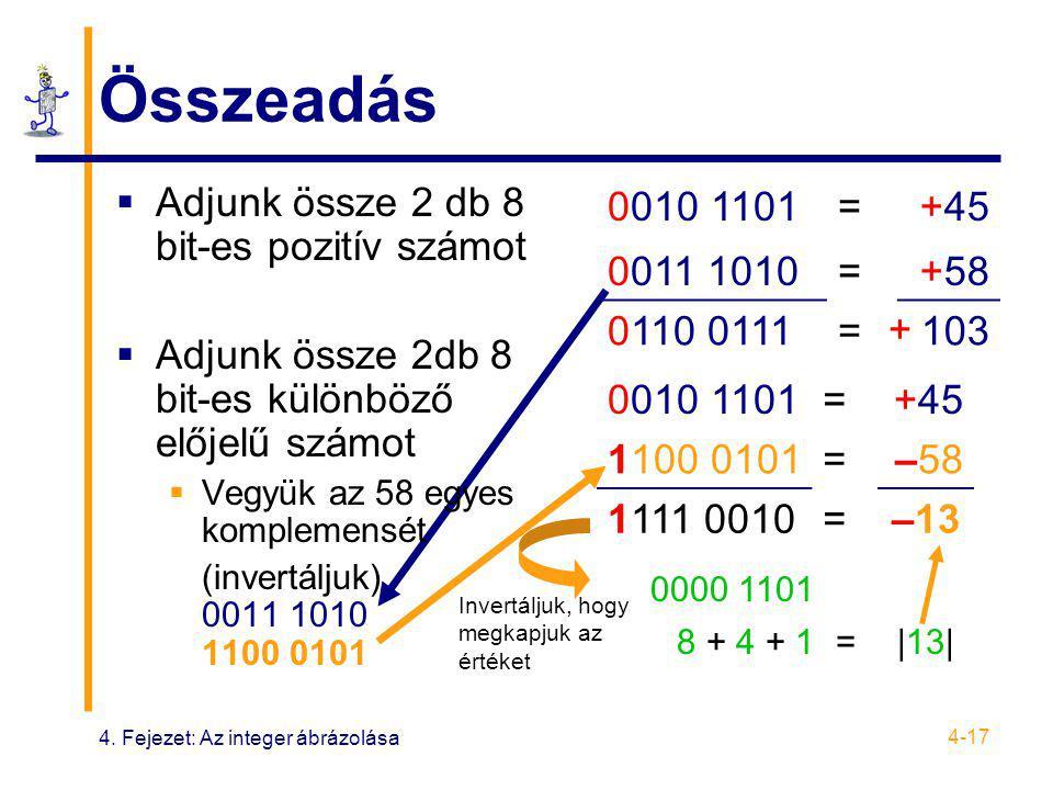 4. Fejezet: Az integer ábrázolása 4-17 Összeadás  Adjunk össze 2 db 8 bit-es pozitív számot  Adjunk össze 2db 8 bit-es különböző előjelű számot  Ve