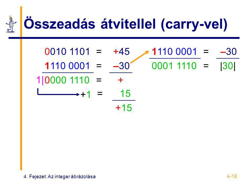 4. Fejezet: Az integer ábrázolása 4-18 Összeadás átvitellel (carry-vel) 0010 1101=+45 1110 0001=–30 0000 1110=+ 1110 0001=–30 0001 1110=|30| 1| +1+1 =