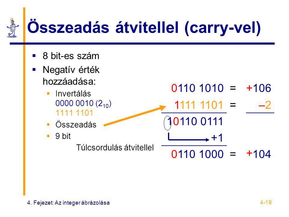 4. Fejezet: Az integer ábrázolása 4-19 Összeadás átvitellel (carry-vel)  8 bit-es szám  Negatív érték hozzáadása:  Invertálás 0000 0010 (2 10 ) 111