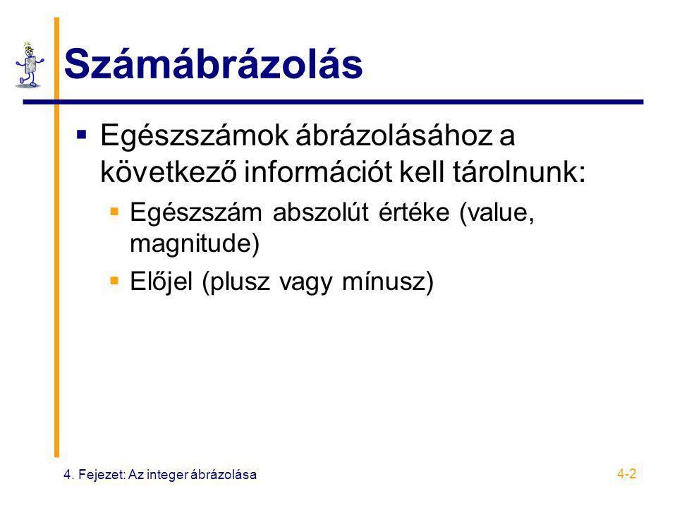 4. Fejezet: Az integer ábrázolása 4-2 Számábrázolás  Egészszámok ábrázolásához a következő információt kell tárolnunk:  Egészszám abszolút értéke (v