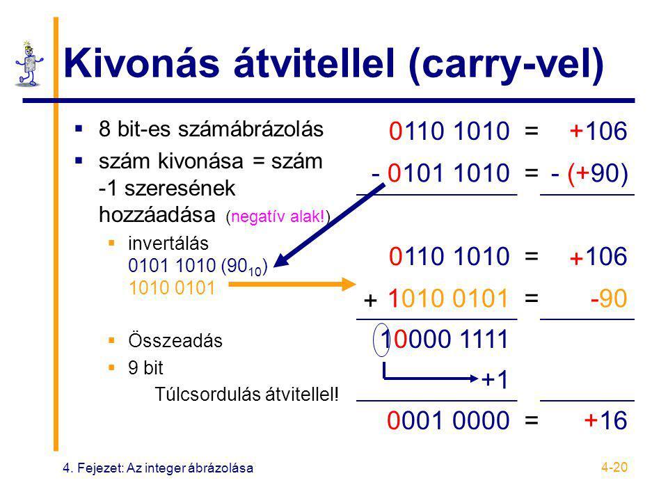 4. Fejezet: Az integer ábrázolása 4-20 Kivonás átvitellel (carry-vel)  8 bit-es számábrázolás  szám kivonása = szám -1 szeresének hozzáadása (negatí