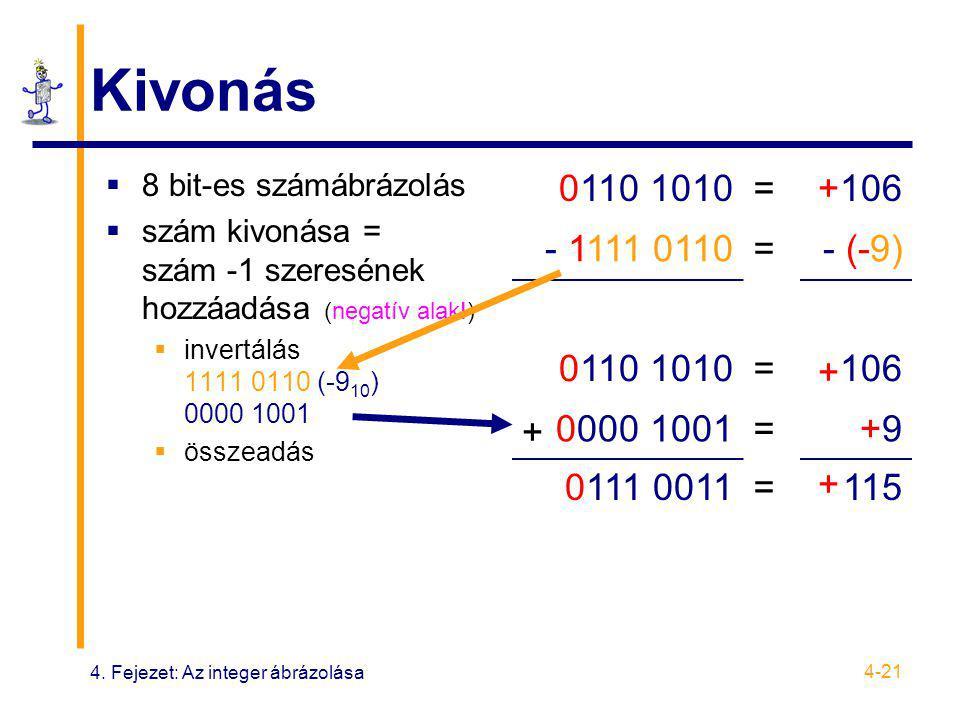 4. Fejezet: Az integer ábrázolása 4-21 Kivonás  8 bit-es számábrázolás  szám kivonása = szám -1 szeresének hozzáadása (negatív alak!)  invertálás 1
