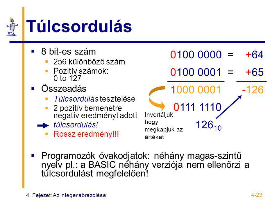 4. Fejezet: Az integer ábrázolása 4-23 Túlcsordulás  8 bit-es szám  256 különböző szám  Pozitív számok: 0 to 127  Összeadás  Túlcsordulás tesztel