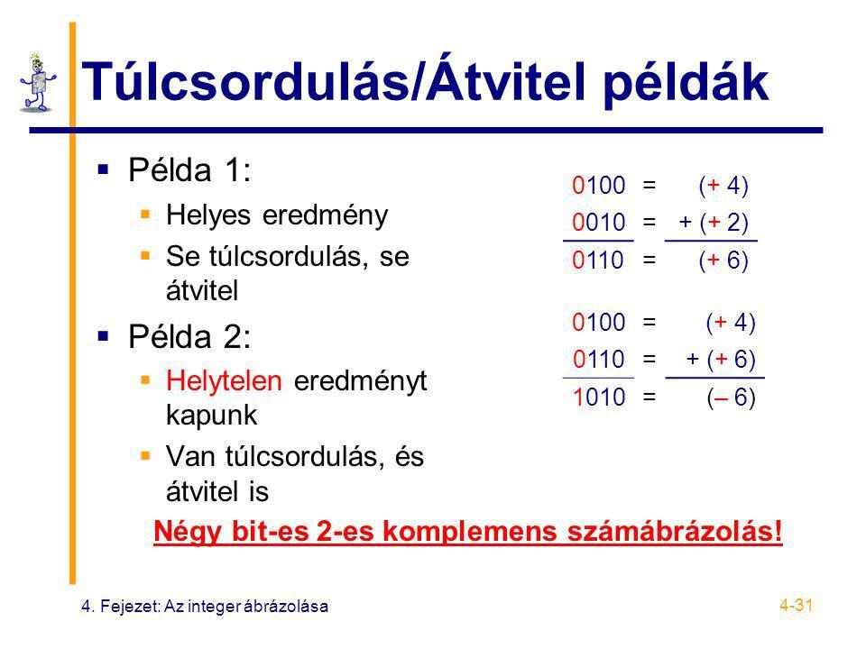 4. Fejezet: Az integer ábrázolása 4-31 Túlcsordulás/Átvitel példák  Példa 1:  Helyes eredmény  Se túlcsordulás, se átvitel  Példa 2:  Helytelen e